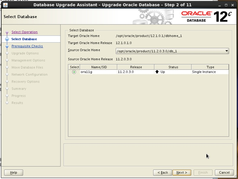 Screenshot: Oracle 12c database upgrade assistant select database