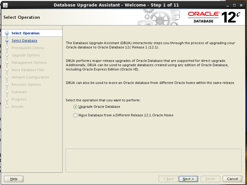 Screenshot: Oracle 12c database upgrade assistant select operation