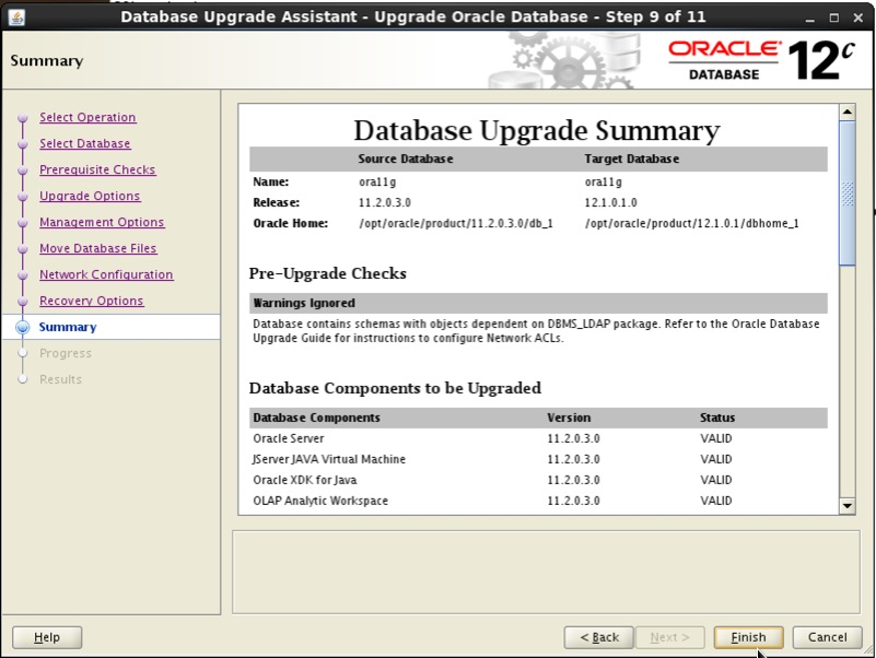 Screenshot: Oracle 12c database upgrade assistant summary