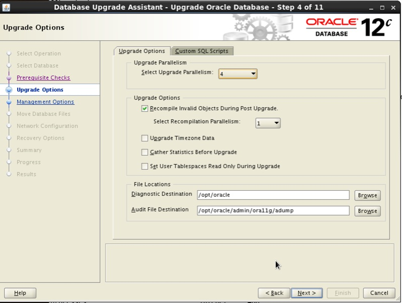 Screenshot: Oracle 12c database upgrade assistant upgrade options