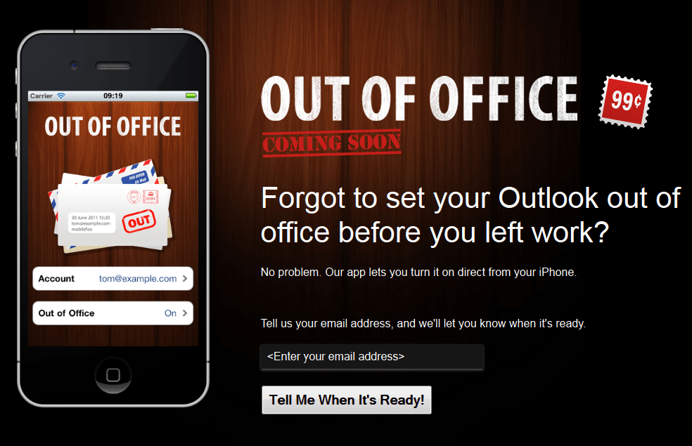 Out of Office web page