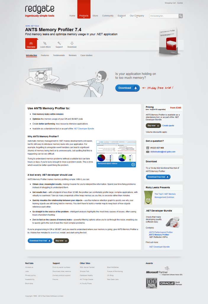 Screenshot of old product page