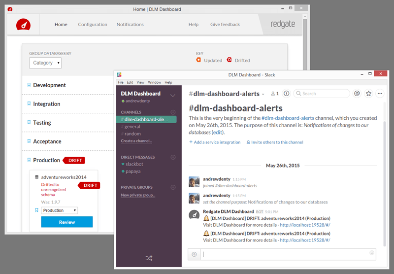 Screenshot of DLM Dashboard and Slack integration