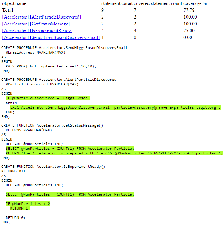 sample SQL Cover code coverage coverage output