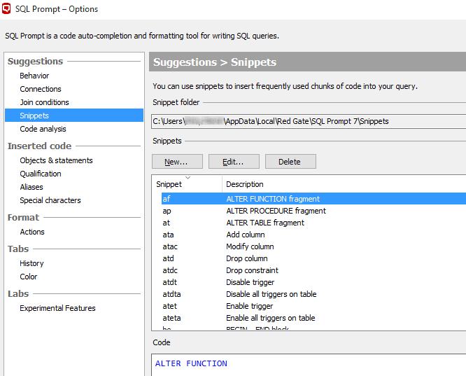 SQL Prompt snippet 2