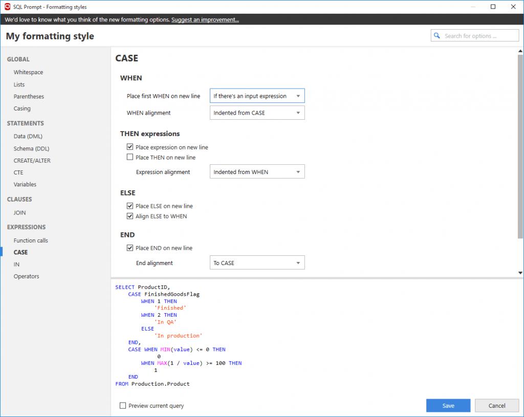 SQL Prompt formatting styles 1