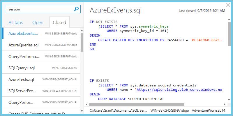 SQL Prompt tab history 4