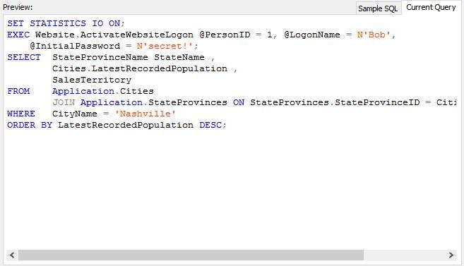 SQL code formatting 2
