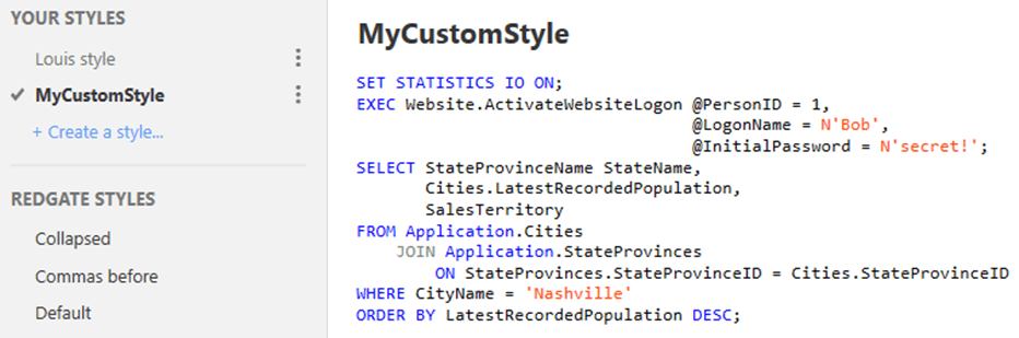 SQL Prompt formatting styles 4