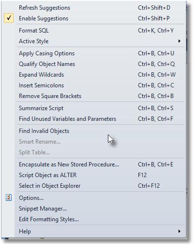 SQL Prompt menu