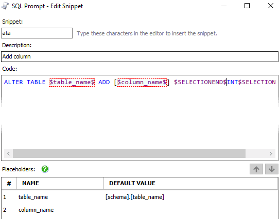 Customizing The Sql Prompt Built In Snippets A Better Ata