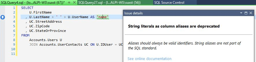Driving up database coding standards using SQL Prompt