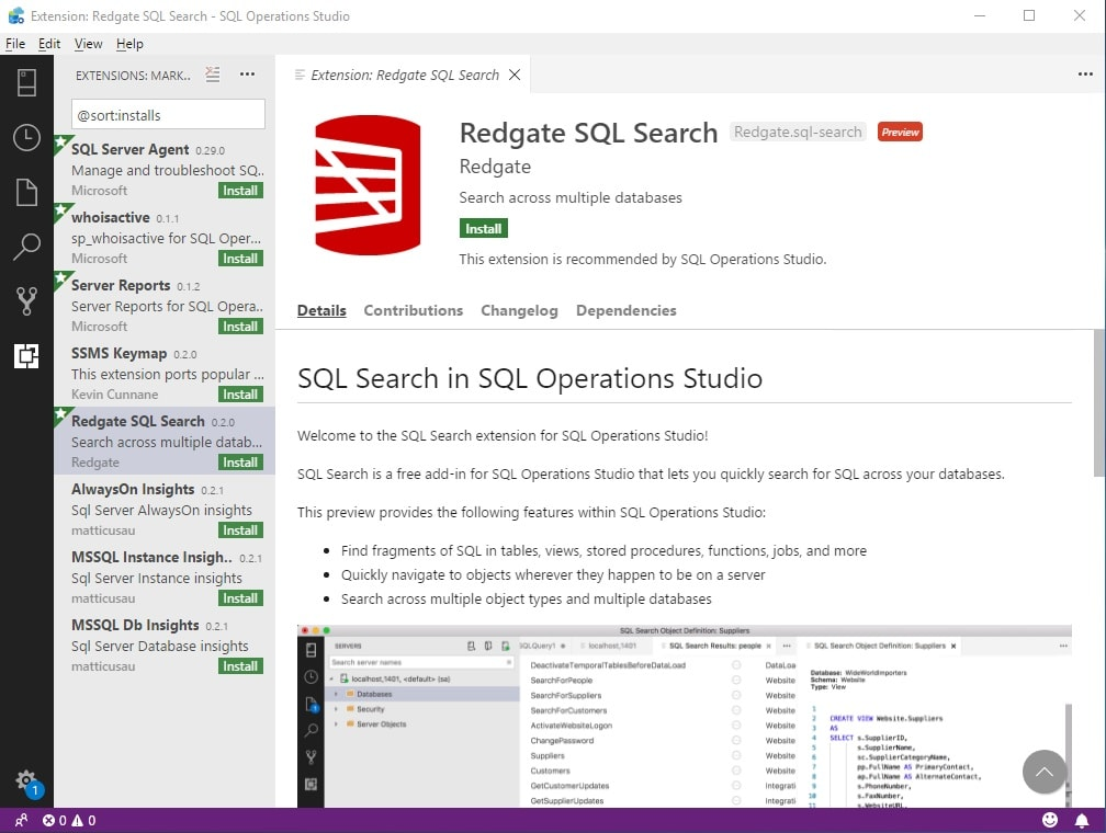 Welcome to Redgate tools for SQL Operations Studio