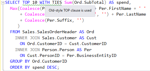 SQL Prompt code analysis style rule ST006