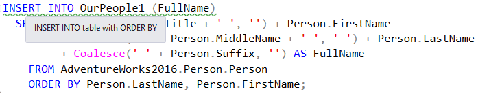 SQL Prompt detects code smell PE020 - a query that inserts into a permanent table using an ORDER BY.