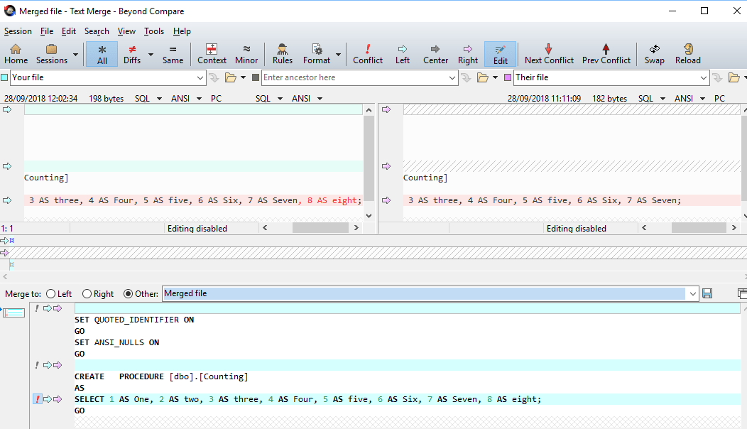 Merging a Conflict with SQL Source Control and Beyond