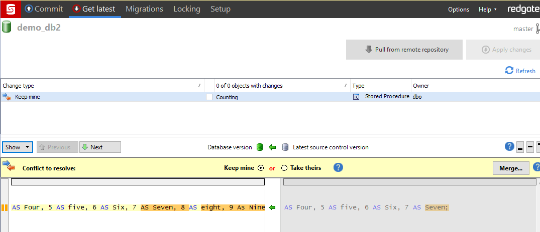 Merging a Conflict with SQL Source Control and Beyond Compare