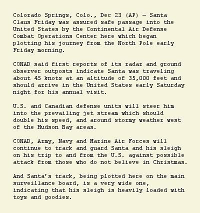 NORAD Santa Tracker story 4