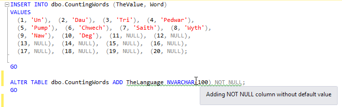 Problems With Adding Not Null Columns Or Making Nullable