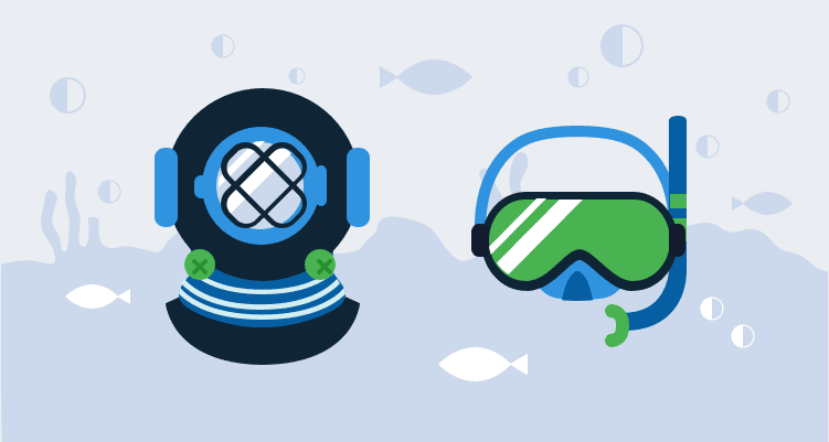 Illustration of two deep sea masks representing CI and CD