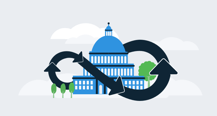 Illustration showing an infinite feedback loop surrounding a government building