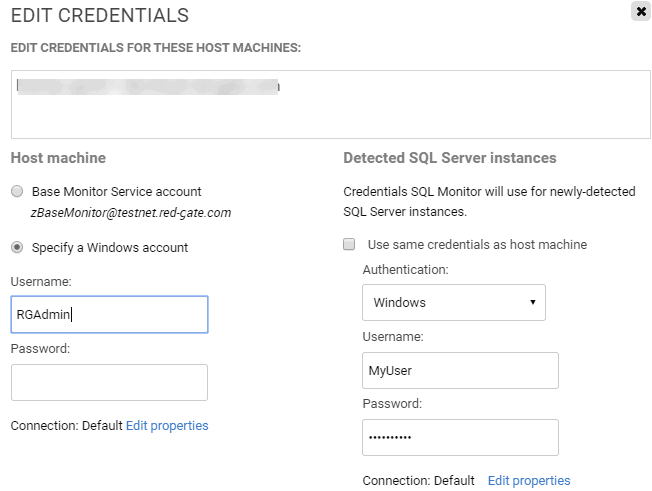 The Configuration > Monitored servers | Edit Credentials screen in SQL Monitor